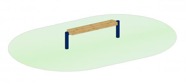 Endlosbank - Grundelement mit 2 Metallpfosten blau, Sitzhöhe 45 cm