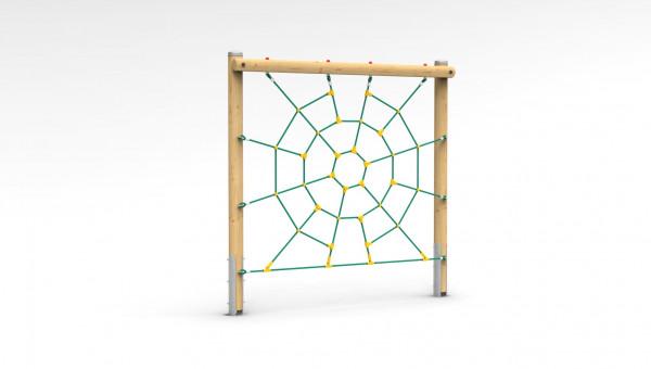 Freistehendes Kletterelement mit Spinnennetz