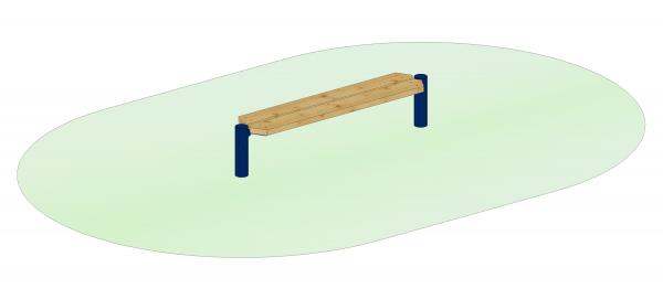 Endlosbank - Grundelement mit 2 Metallpfosten blau, Sitzhöhe 35 cm