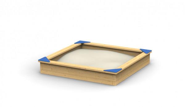 Sandkasten aus Robinie mit Douglasien-Sitzbrett