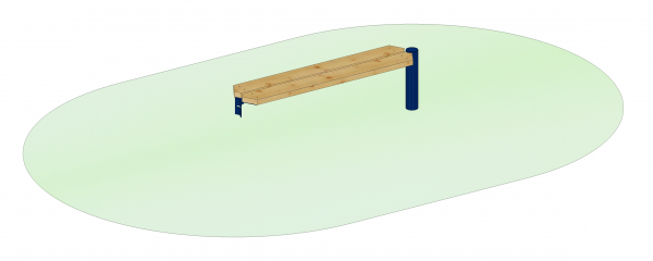 Endlosbank - Anbauelement mit 1 Metallpfosten, blau, Sitzhöhe 45 cm